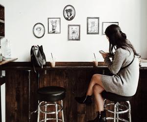 girl, cafe, and coffee image