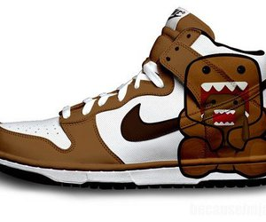 brown and white, sneakers, and domo kun image