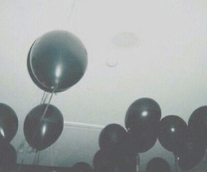 grunge, balloons, and black image