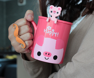 cute, pink, and mug image