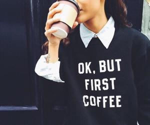 coffee, sweater, and outfit image