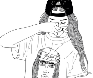 girl, hat, and outline image