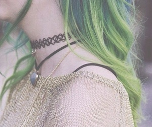 green hair, hair, and pastel hair image