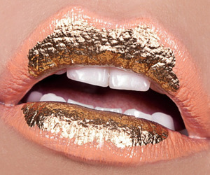 lips, gold, and lipstick image