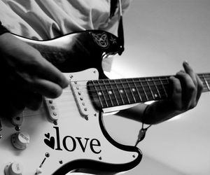 black and white, guitar, and photography image