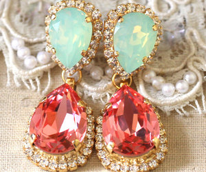 coral, earrings, and jewelry image