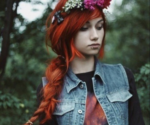 red hair, hair, and girl image