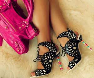 black, girly, and heels image