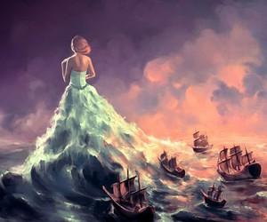art, sea, and ship image