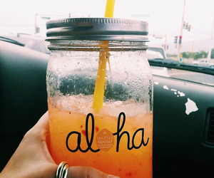 drink, orange, and Aloha image