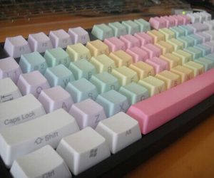 keyboard, pastel, and rainbow image