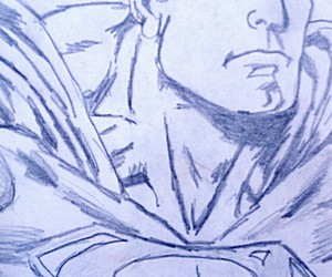 draw, heroes, and superman image