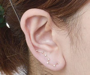 earrings, stars, and piercing image