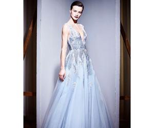 blue, blue dress, and brunette image