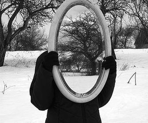 mirror, black and white, and snow image