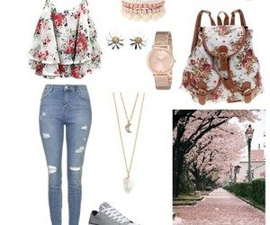 flowers, outfit, and spring image