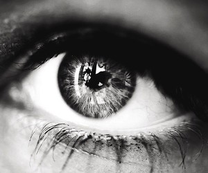 black and white, eye, and macro image