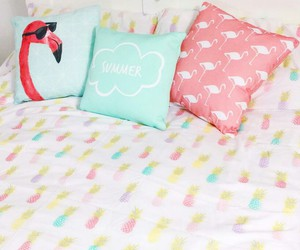 flamingo, pastel, and pillows image