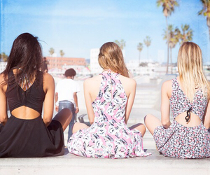 beach, dress, and friends image