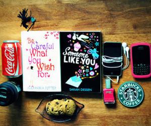 starbucks, book, and coca cola image