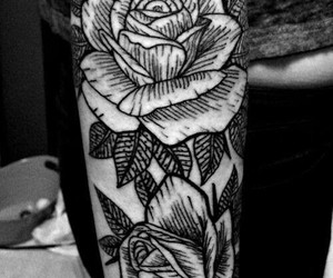 tattoo, inked, and rose image
