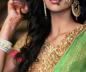 asian, pretty, and saree image
