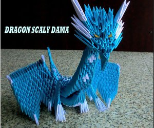 dragon, origami, and origami 3d image