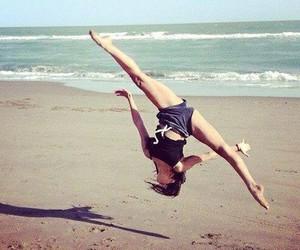 beach, gymnastics, and sea image