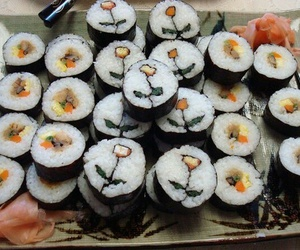 sushi, food, and flowers image