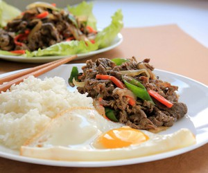 bulgogi, egg, and food image