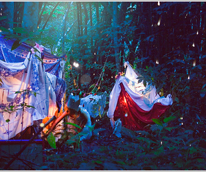 light, forest, and tent image