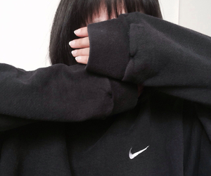 black, nike, and girl image