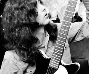 jimmy page, led zeppelin, and black and white image