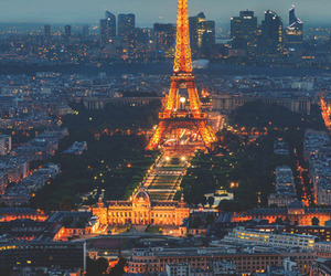 city, lights, and eiffel tower image