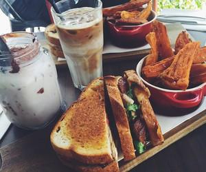 food, sandwich, and coffee image