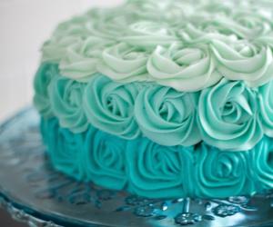 cake, blue, and rose image