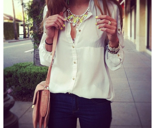 jeans, jewellery, and white blouse image