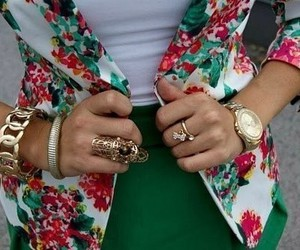 fashion, green, and flowers image