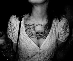 art, black and white, and body art image