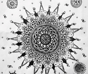 black, black and white, and doodle image