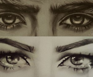 drawing, eyes, and tears image
