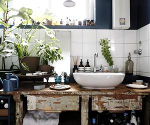 interior, plants, and bathroom image