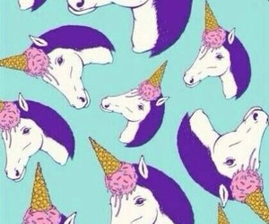 unicorn, ice cream, and wallpaper image