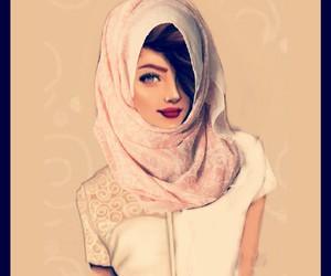 hijab, lipstick, and women image