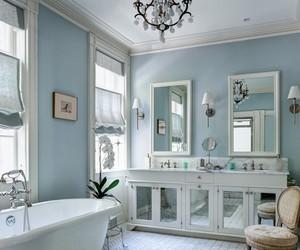 bathroom, blue, and decor image