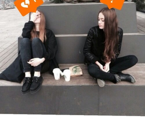 friends, girl, and black image