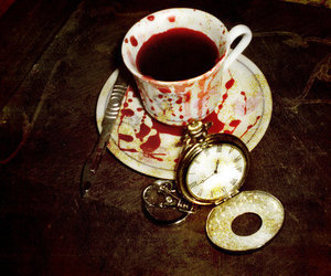 blood, tea, and clock image