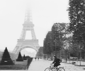 black and white, paris, and velo image