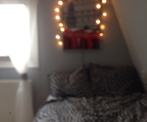 bedroom, lights, and decoration image