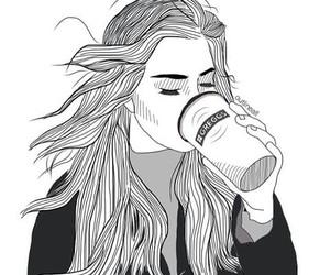 girl, art, and coffee image